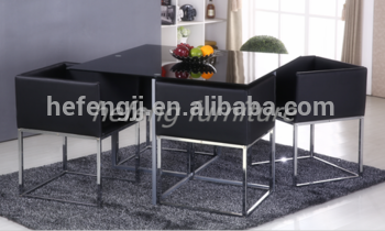 Space saving dining set with 4 Chairs
