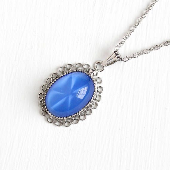 Vintage sterling silver simulated star sapphire necklace 1940s vintage sterling silver simulated star sapphire necklace 1940s late art deco blue oval glass cabochon pendant cannetille filigree jewelry mozeypictures Choice Image
