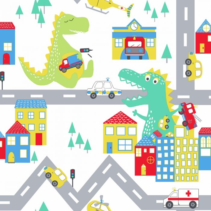 Over The Rainbow Dino Road Wallpaper White Multi Holden 90910 Dinosaur Wallpaper Colorful Wallpaper Wallpaper