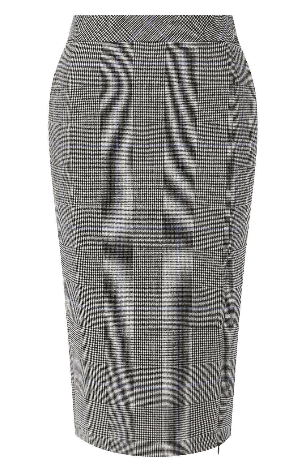 026c9187264 Женская разноцветного шерстяная юбка-карандаш в клетку THEORY