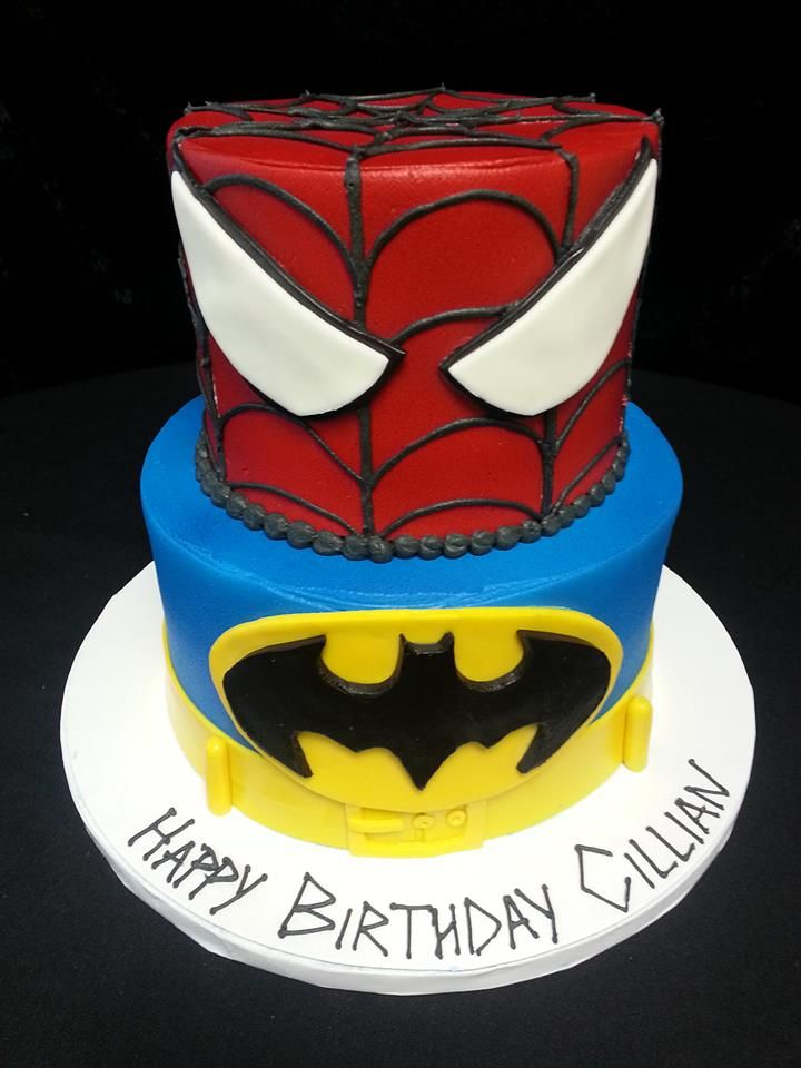 Cookie Jar Bakeshop I Custom Cakes I Birthday Cake I Super Hero Themed Birthday Cake I Spiderman Cake I BatmanCake I Red & Blue Birthday Cake I Comic Con Cake