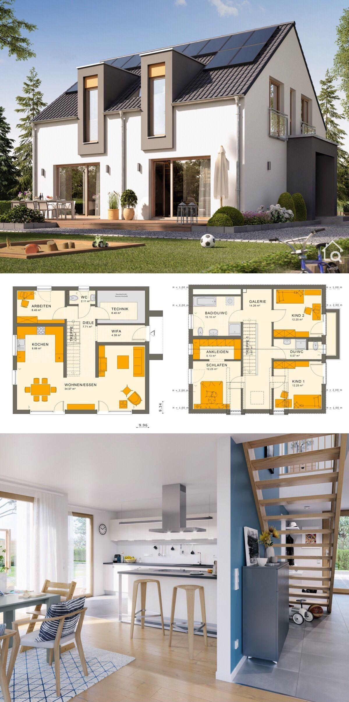 Fertighaus modern mit Satteldach ohne Dachüberstand