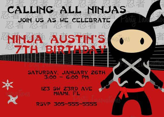 Printable Ninja Birthday Party Invitation Plus Free Blank Matching