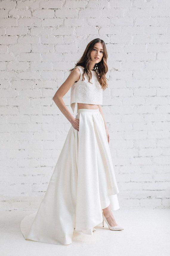 Two Piece Wedding Dress Lily High Low Wedding Skirt With Etsy Wedding Dresses High Low Two Piece Wedding Dress Bridal Skirts