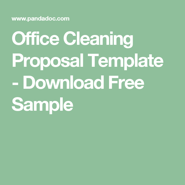 Office Cleaning Proposal Template  Download Free Sample