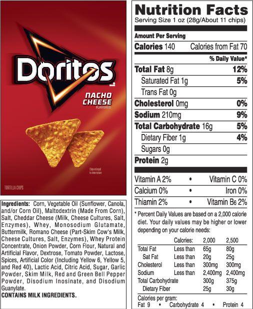 Frito Lay Good Fun Doritos Cheese Flavor Doritos Nutrition Facts