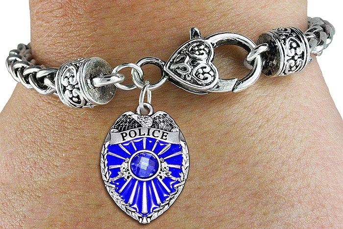Blue Police Shield Charm Bracelet