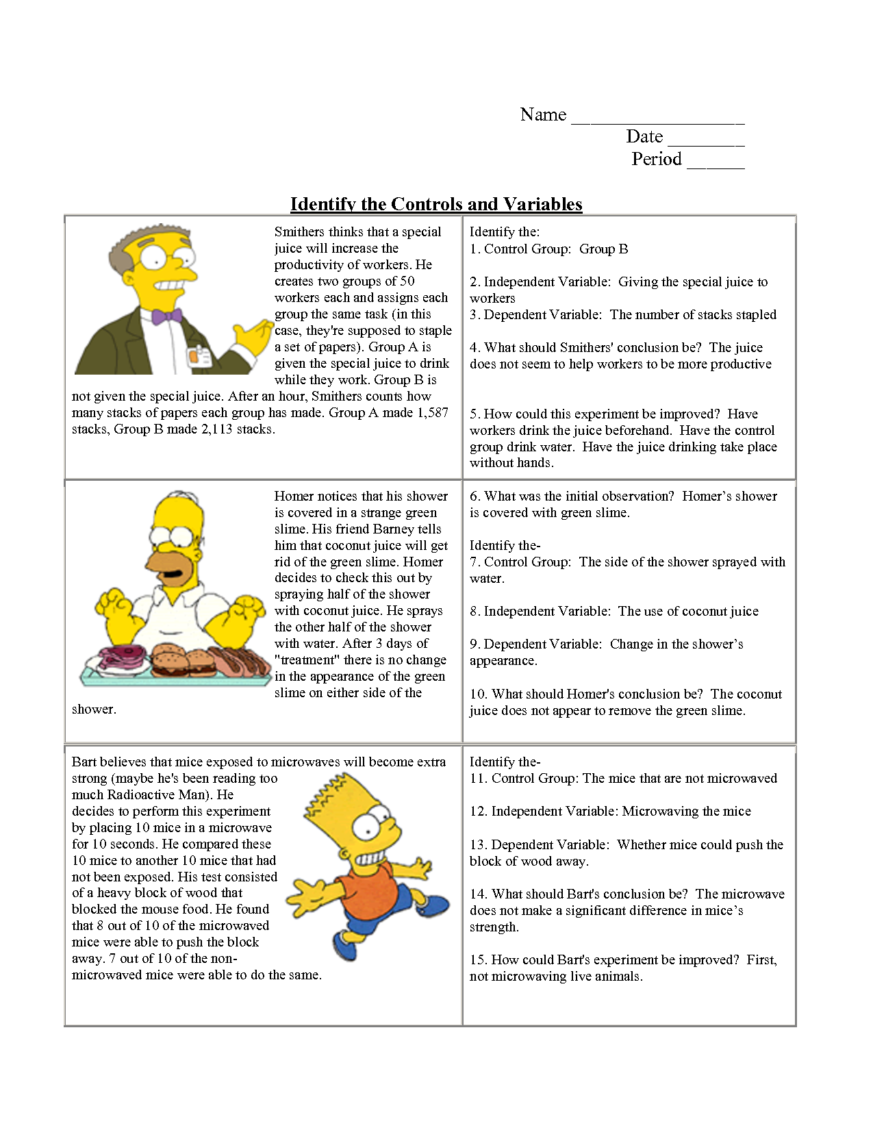 Identifying Variables Worksheet Answers | scientific ...