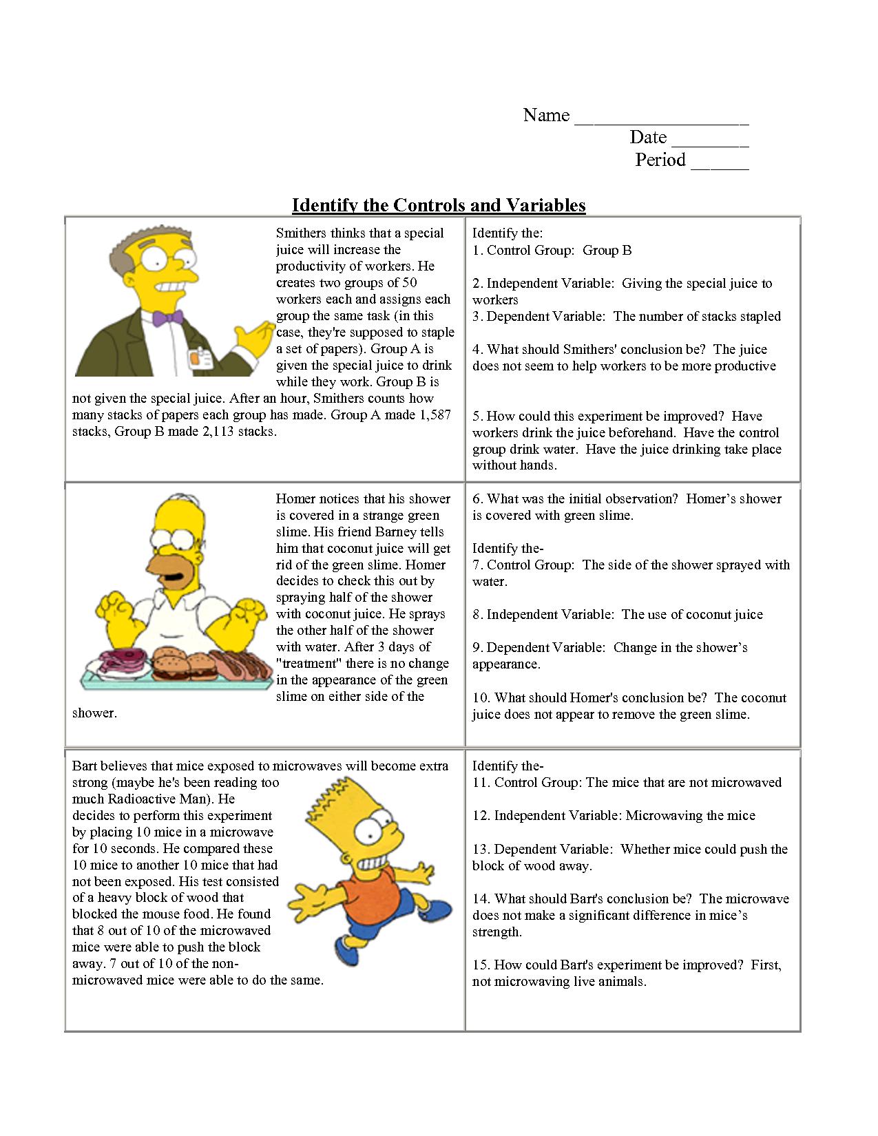 hight resolution of Identifying Variables Worksheet Answers   Scientific method worksheet