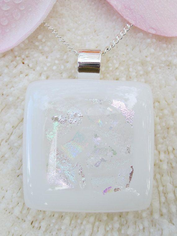 Rainbow dichroic fused glass Mosaic Pendant