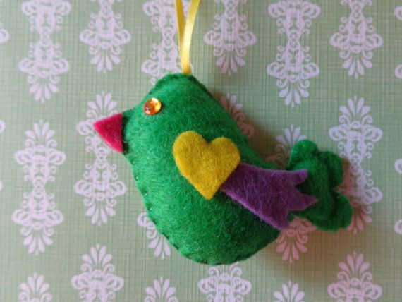 Emerald Bird Ornament by Pepperland on Etsy, $6.00