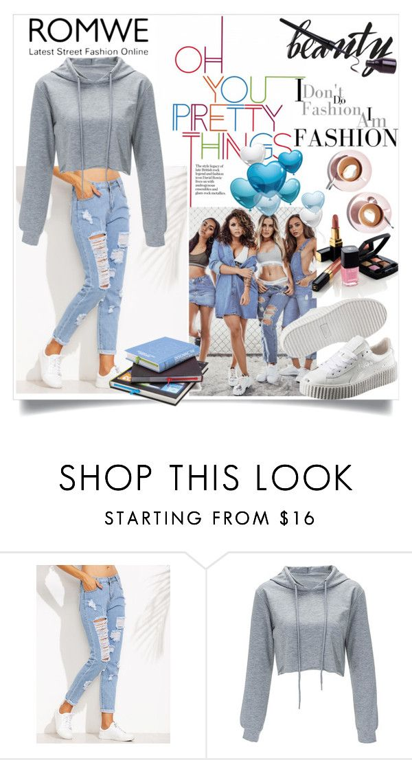 """""""romwe"""" by perfex ❤ liked on Polyvore featuring Puma, Chanel and Martha Stewart"""