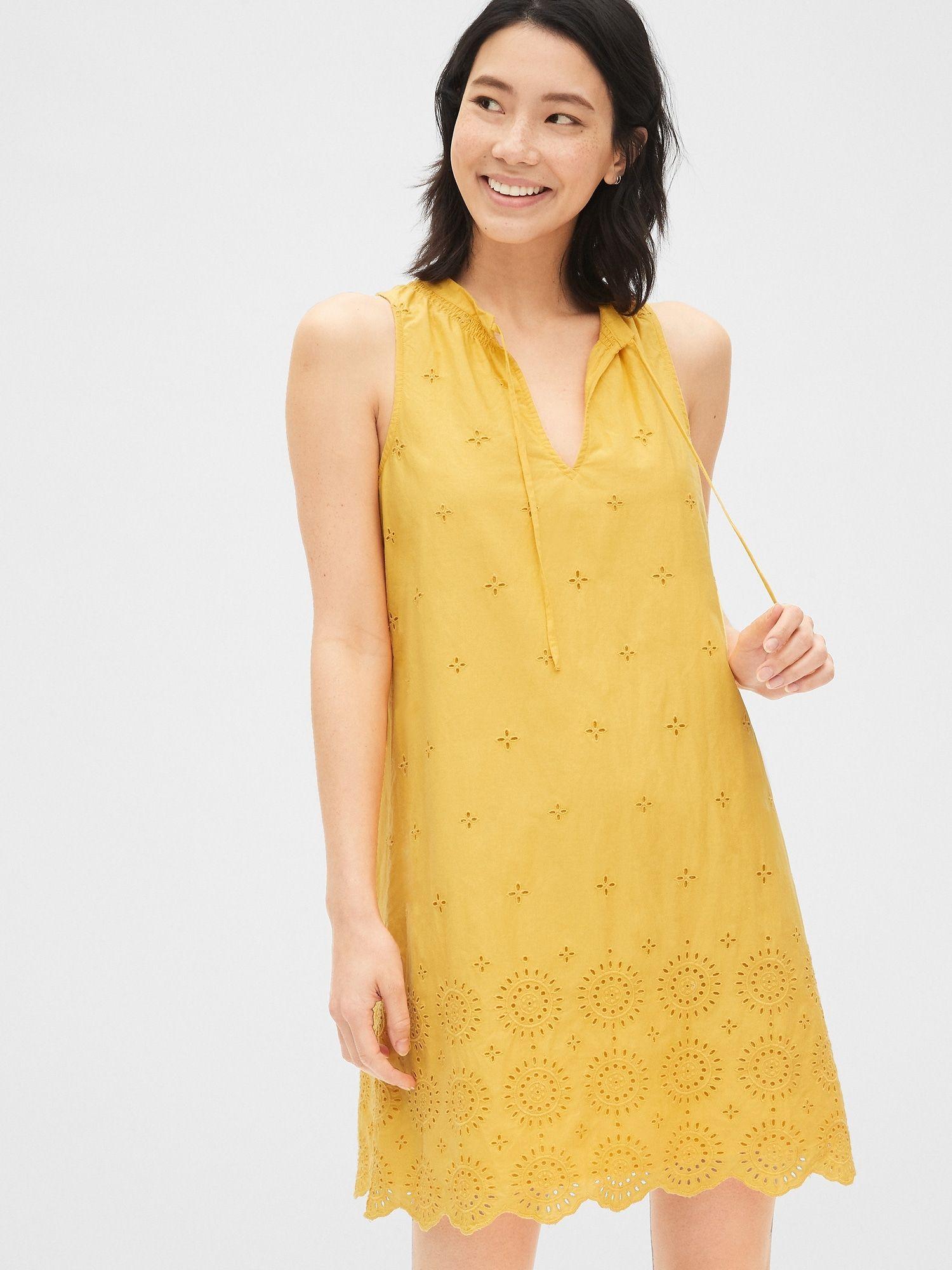 Eyelet Embroidered Sleeveless Tie Neck Swing Dress Gap Attractive Dresses Womens Dresses Summer Dresses For Women [ 2000 x 1500 Pixel ]