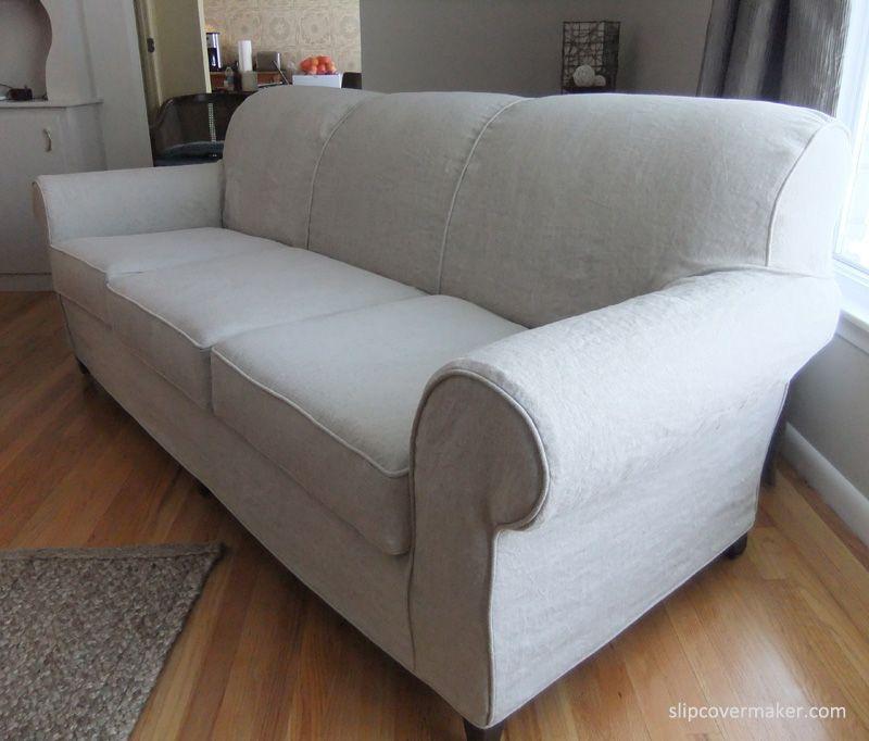 Gray Line Linen Slipcover for Old Sherrill Sofa Linens Upholstery