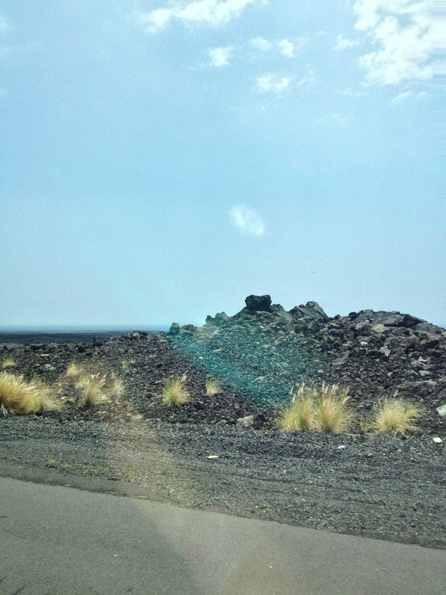 Lava surrounding the highway in Hawaii Big Island, Kona