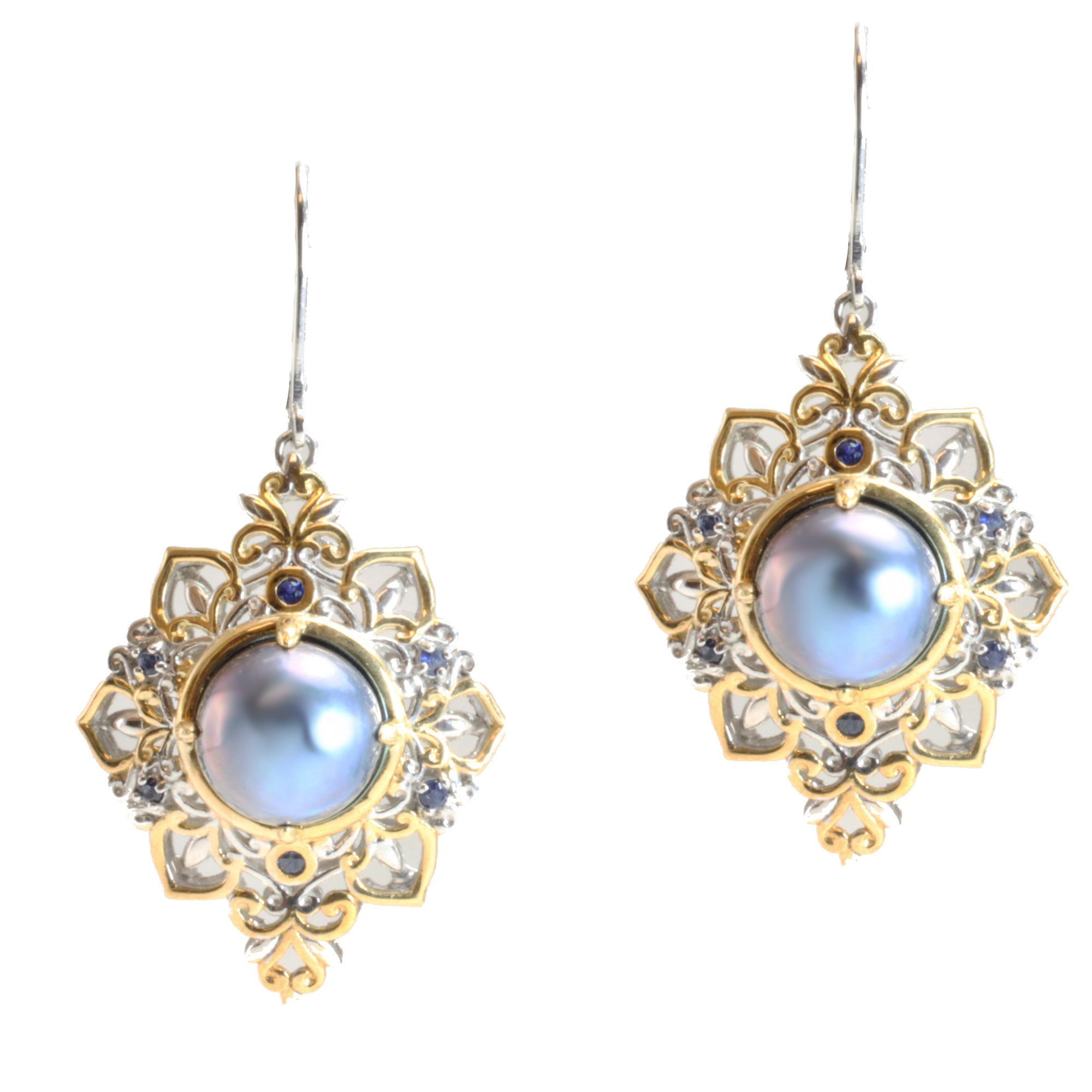 Michael Valitutti Two-tone Mabe Pearl and Sapphire Earrings