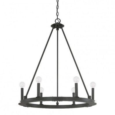 Minimalist Iron Ring Chandelier 6 Light Wagon Wheel Chandelier Candle Styling Chandelier