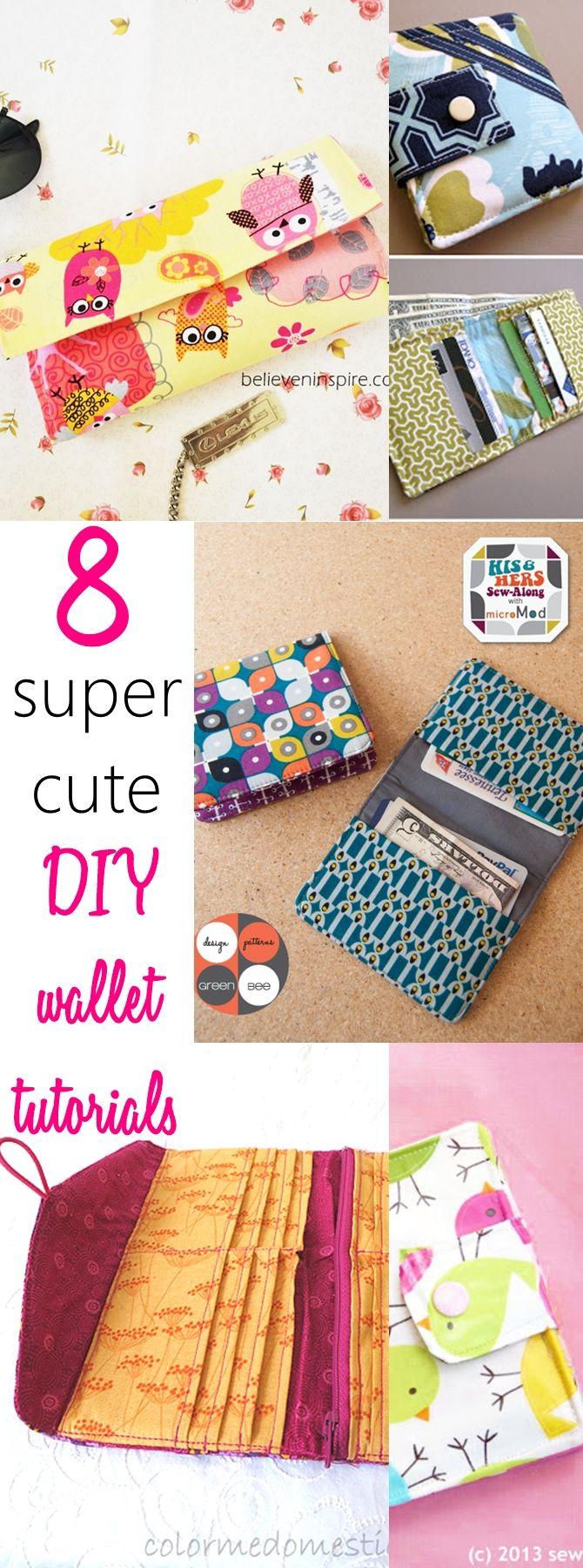 8 Super Cute DIY Wallet Tutorials | Pinterest | Diy wallet tutorial ...