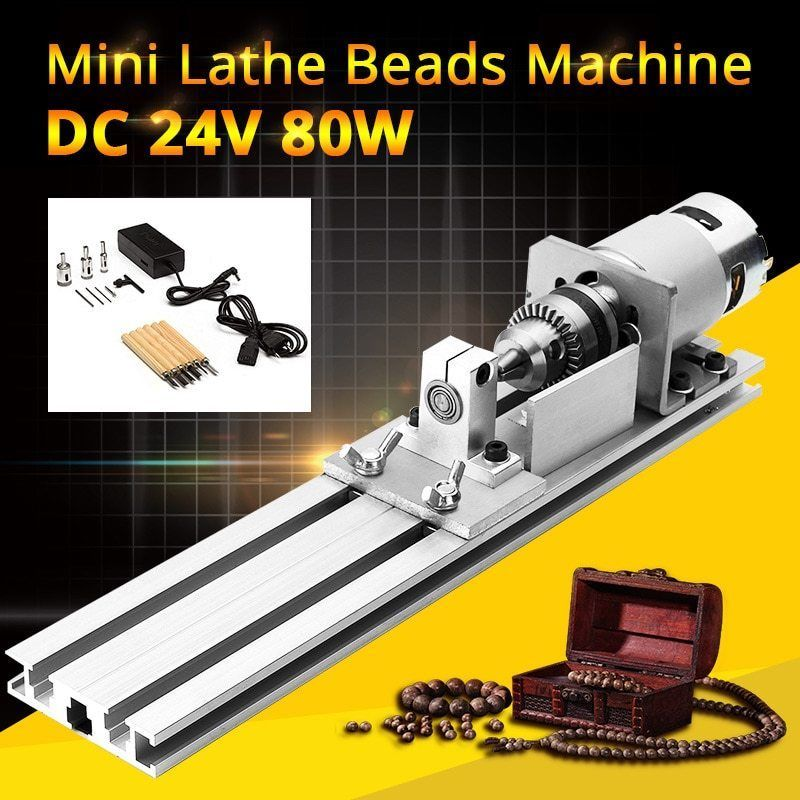 Mini Lathe Bead Machine Woodworking DIY Lathe Polisher Cutting Drill Rotary Tool