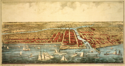 Lithograph of Great Lakes and LaSalle Str Chicago, Illinois around mid 1800s to 1872