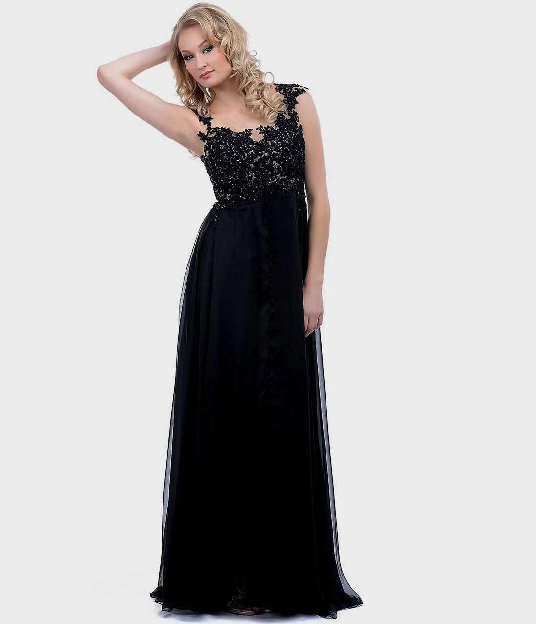 Junoesque queen anne neck long black chiffon bridesmaid dress long