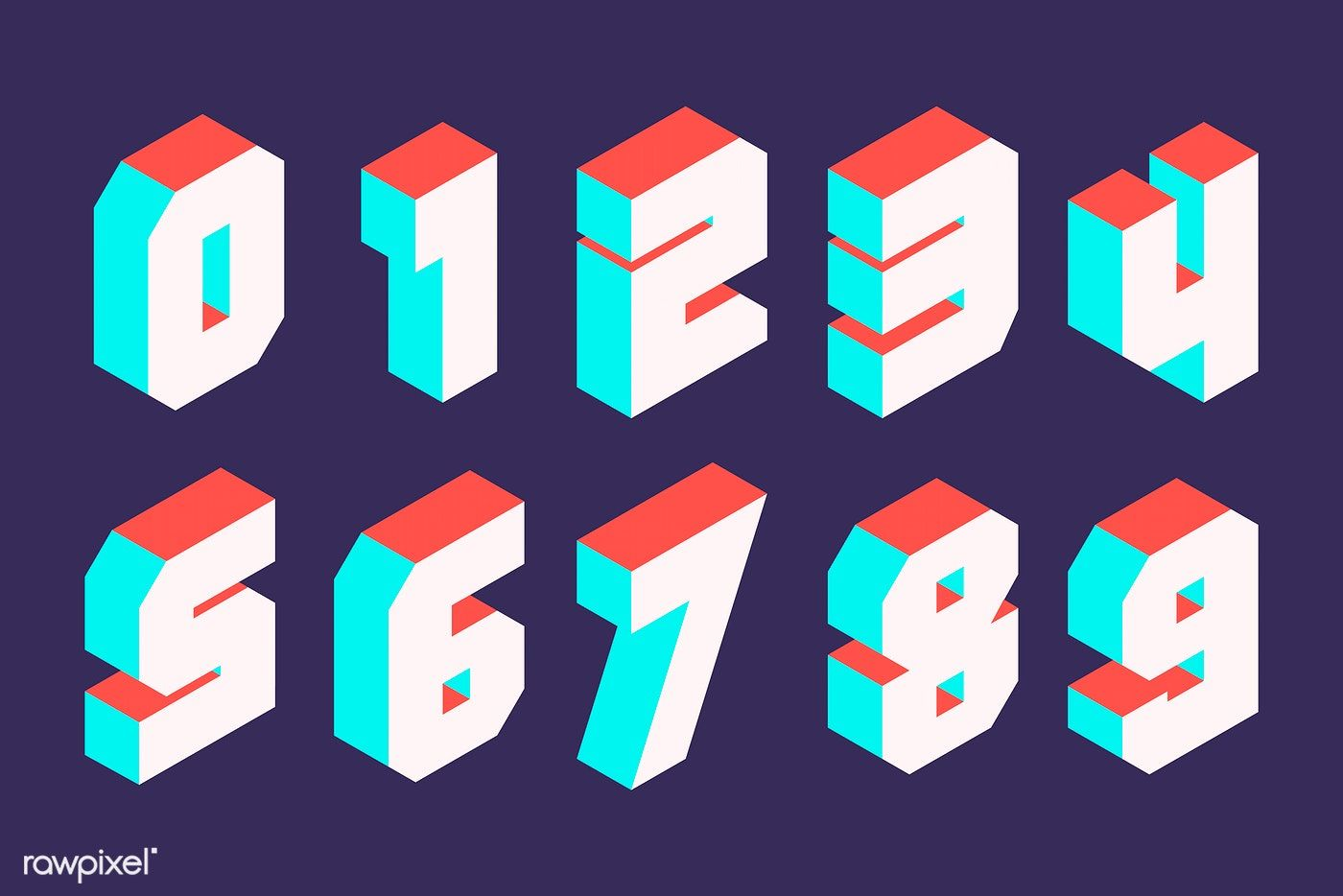 Download premium vector of White isometric numbers vector ...
