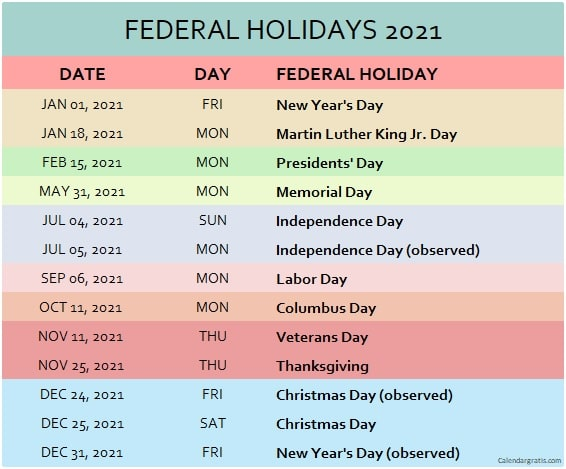 Colorful list of USA Federal Holidays 2021. Official USA