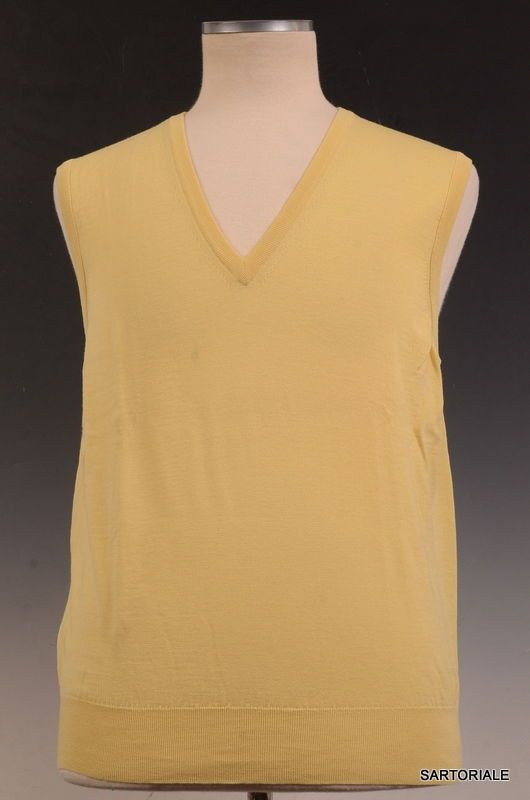 Napoli Yellow Wool V-Neck Sleeveless Sweater Vest US XS NEW EU 46