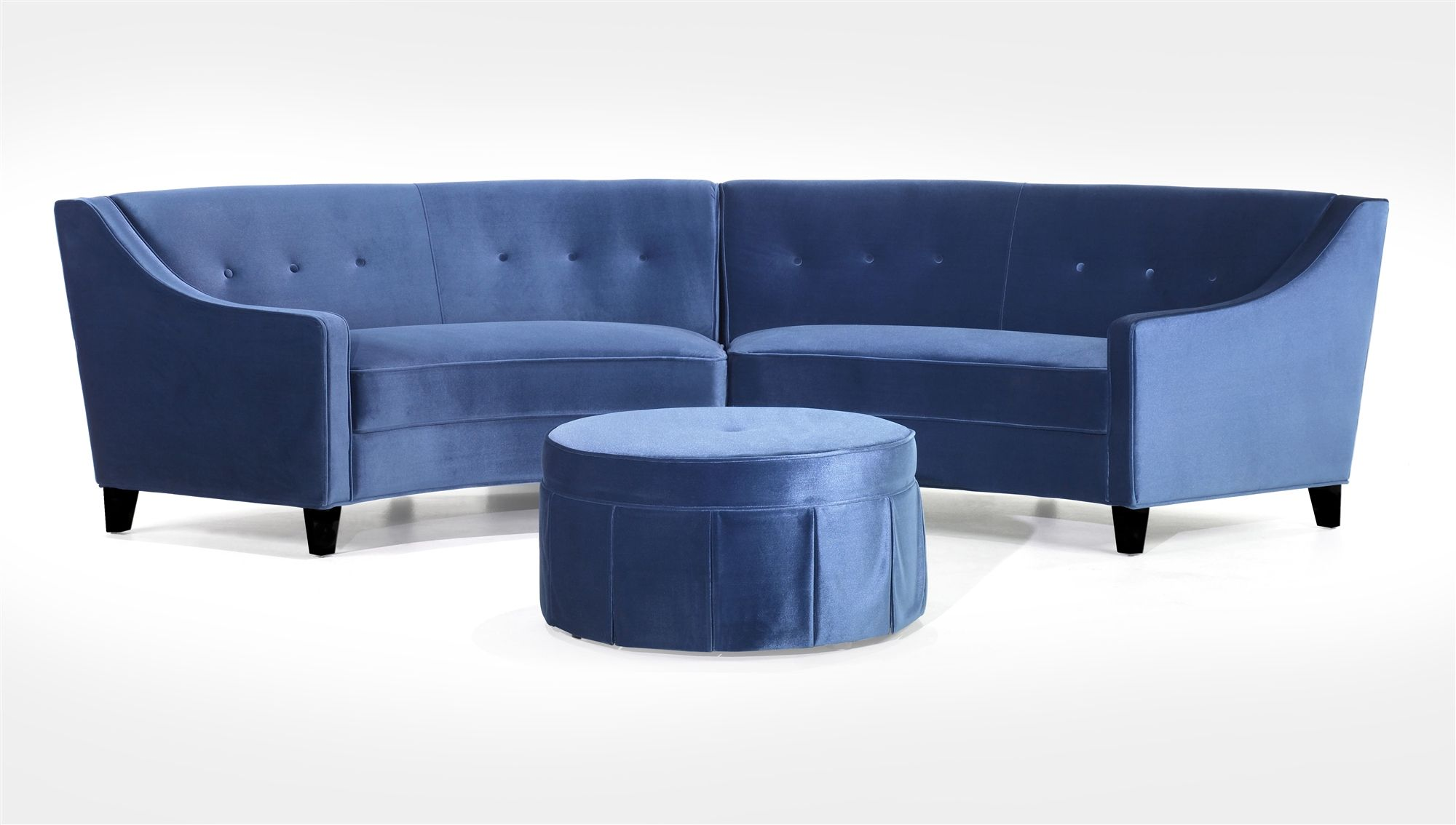 Picture of armen living bel aire curved blue velvet sectional sofa w round ottoman 723 aart lc722bu set contemporary seating