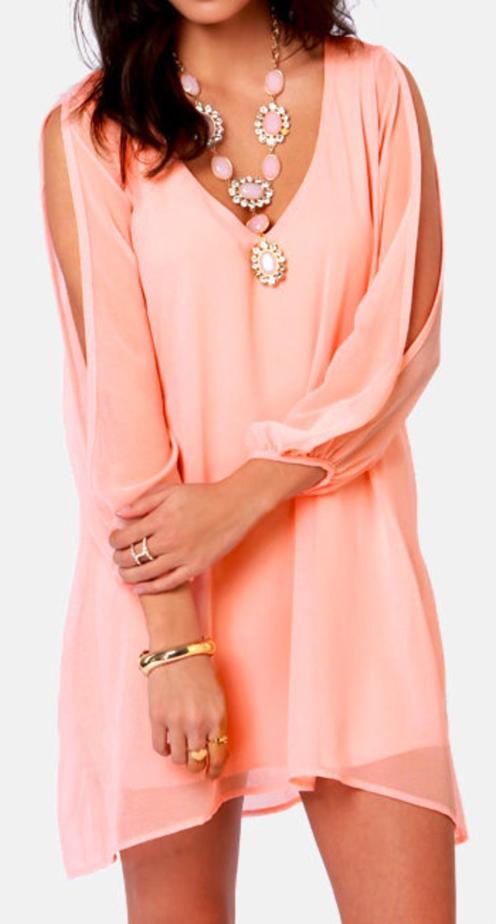 Peach Split Long Sleeve Dress ♥   Ropa   Pinterest   Vestiditos ...