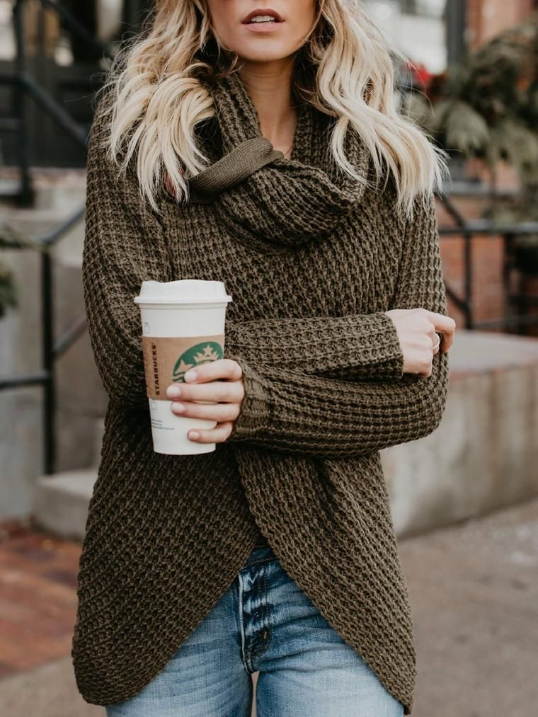 d462159107 Asvivid Women s Chunky Turtle Cowl Neck Asymmetric Hem Wrap Sweater Coat  with Button Details Ruler Of The Skies   Fashion   Outfits   Outfits Fall    Outfits ...