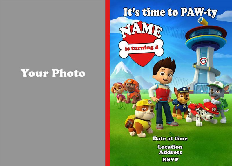 PAW Patrol Birthday Photo Party Invitation