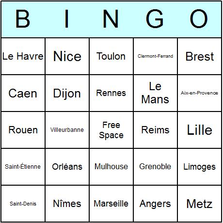 French Cities Bingo Card Bingo Cards Printable Bingo Card Template Bingo Cards