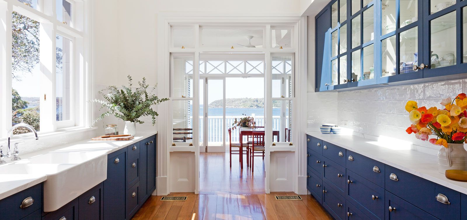 Blue Cabinets White Counter Beach View Yes Please