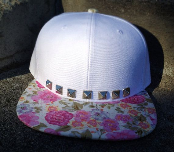 Trucker hat with floral bill studded w/ a Bedazzler :(