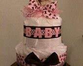 Deluxe Baby Girl Pink and Baby Boy Blue Puppy Diaper Cake for baby shower centerpiece/unique baby gift