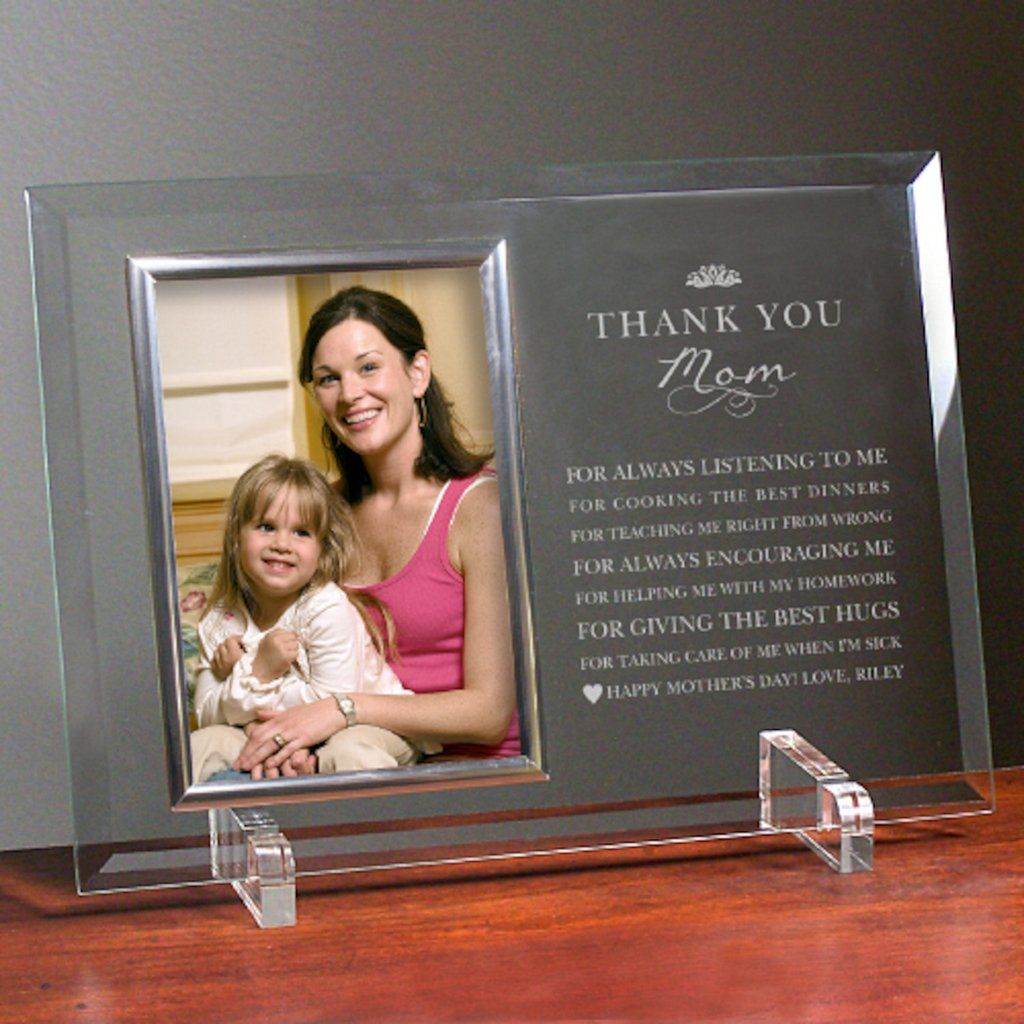 personalized engraved thank you mom glass frame gifts happen here - Mom Frame