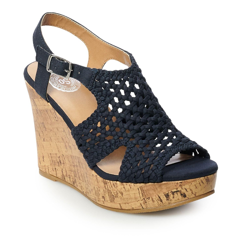 SO® Taffy Women's Wedge Sandals | Kohls
