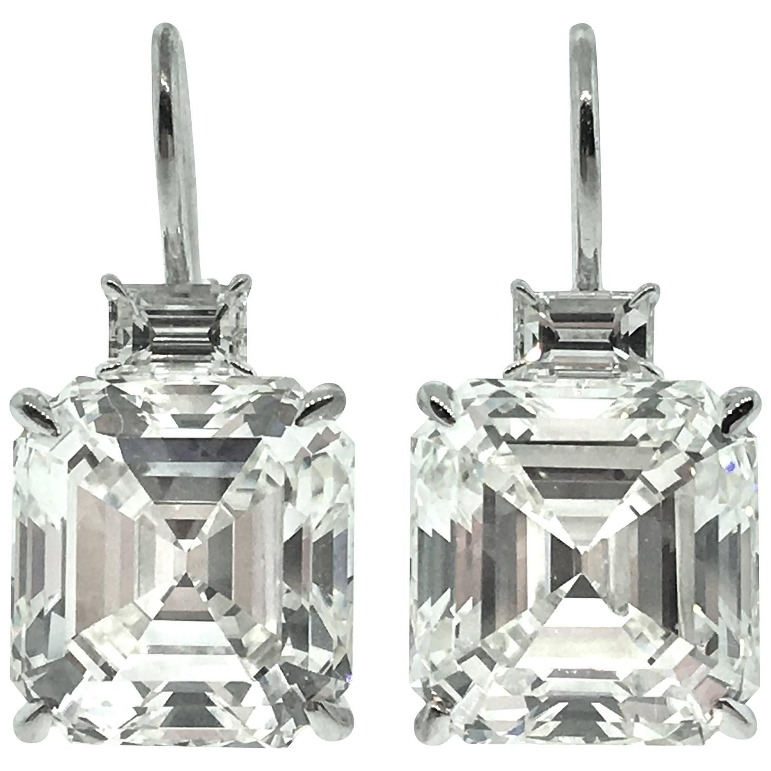 10 97 Ct Square Emerald Cut Diamond Drop Earrings See More Rare Vintage At