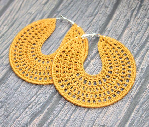 Crochet brown bronze hoop earrings Crochet Hoop by faustapink900, £9.00