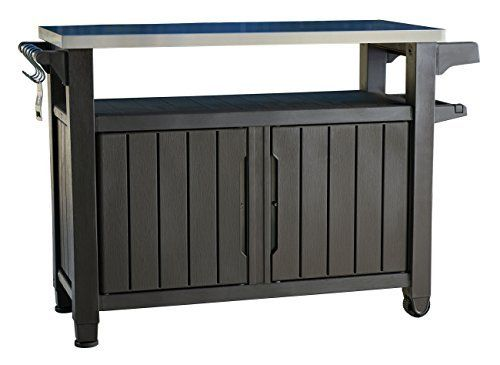 Keter Unity Xl Indoor Outdoor Entertainment Bbq Storage Table Prep Station Serving Cart With Metal Top By Ke Patio Storage Outdoor Bbq Outdoor Serving Cart