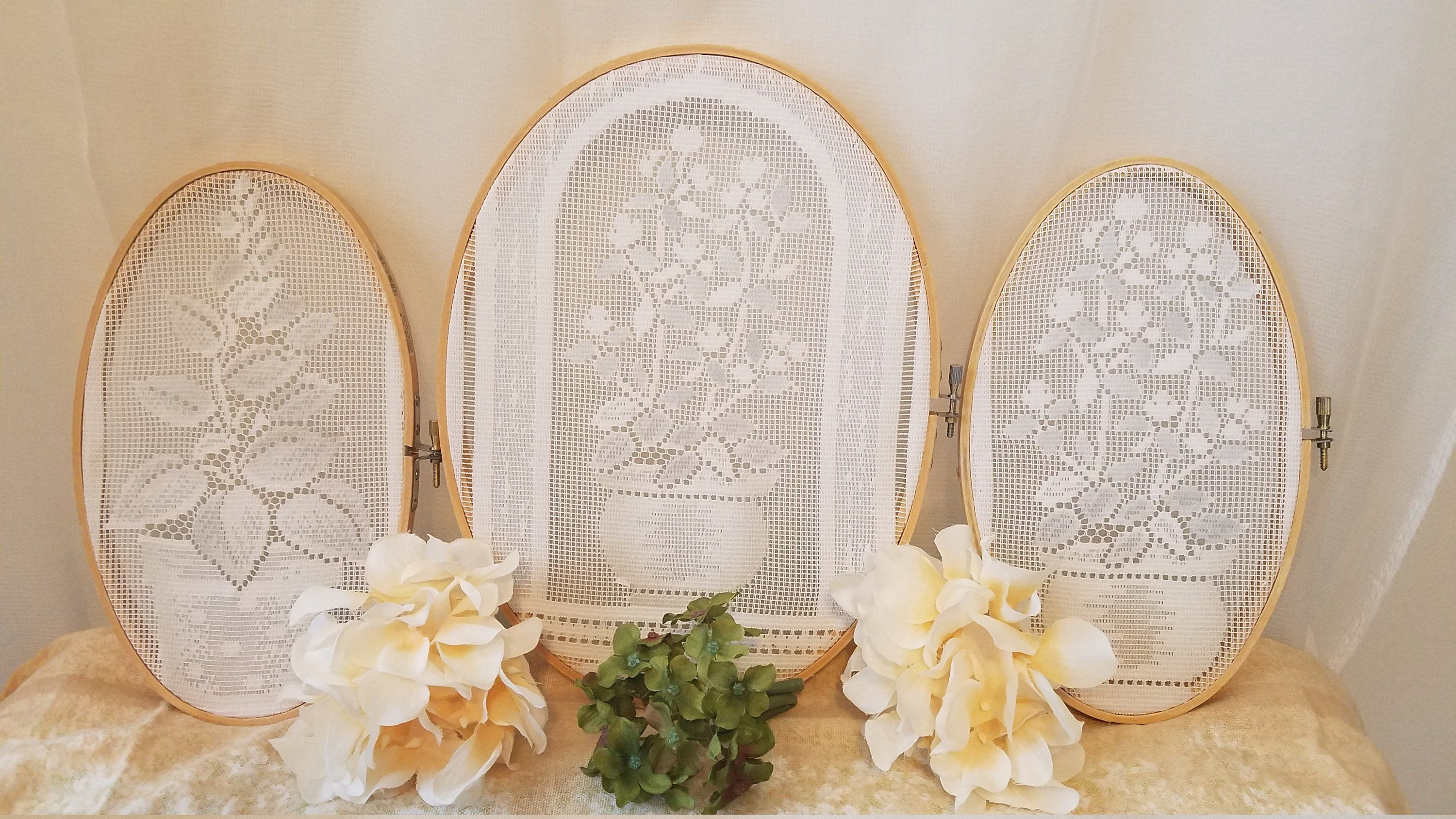 Lace Wall Art Embroidery Hoop 3 Pc Earring Organizer Oval Hanging Storage Trees Embroidery Hoop Wall Embroidery Hoop Wall Art Embroidery Hoop