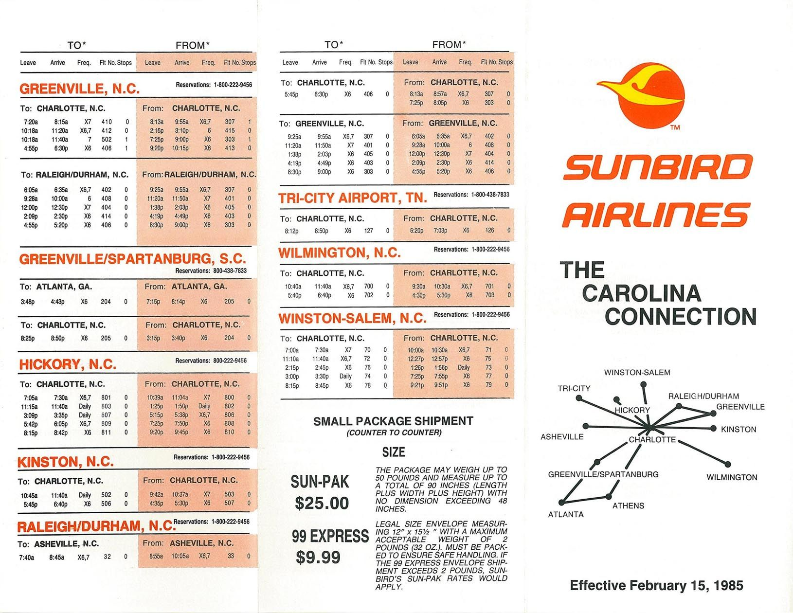 Sunbird Airlines Timetable February 15 1985 Route Map