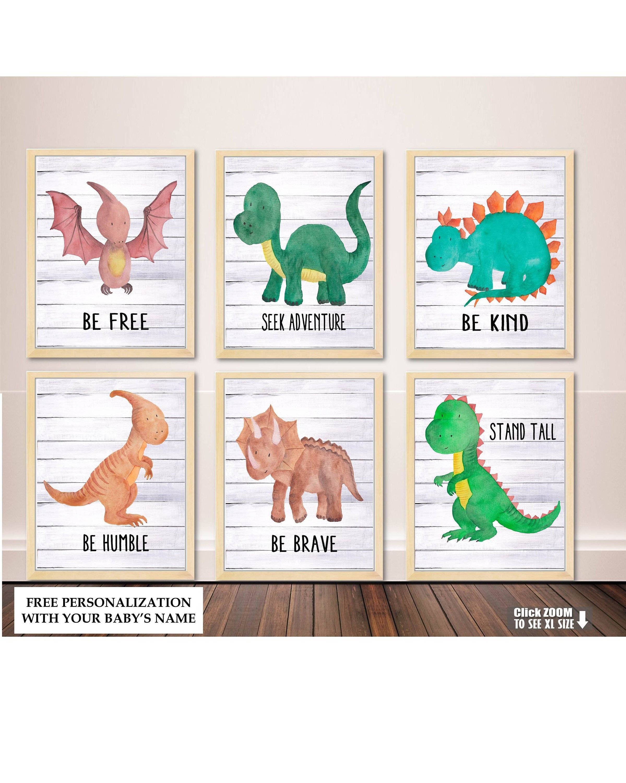 Watercolor Dinosaur Art, Nursery Wall Art, Dinosaur Watercolor Print, Dinosaur Wall Decor, Dinosaur Nursery Decor, Baby Boy Nursery Boy Room