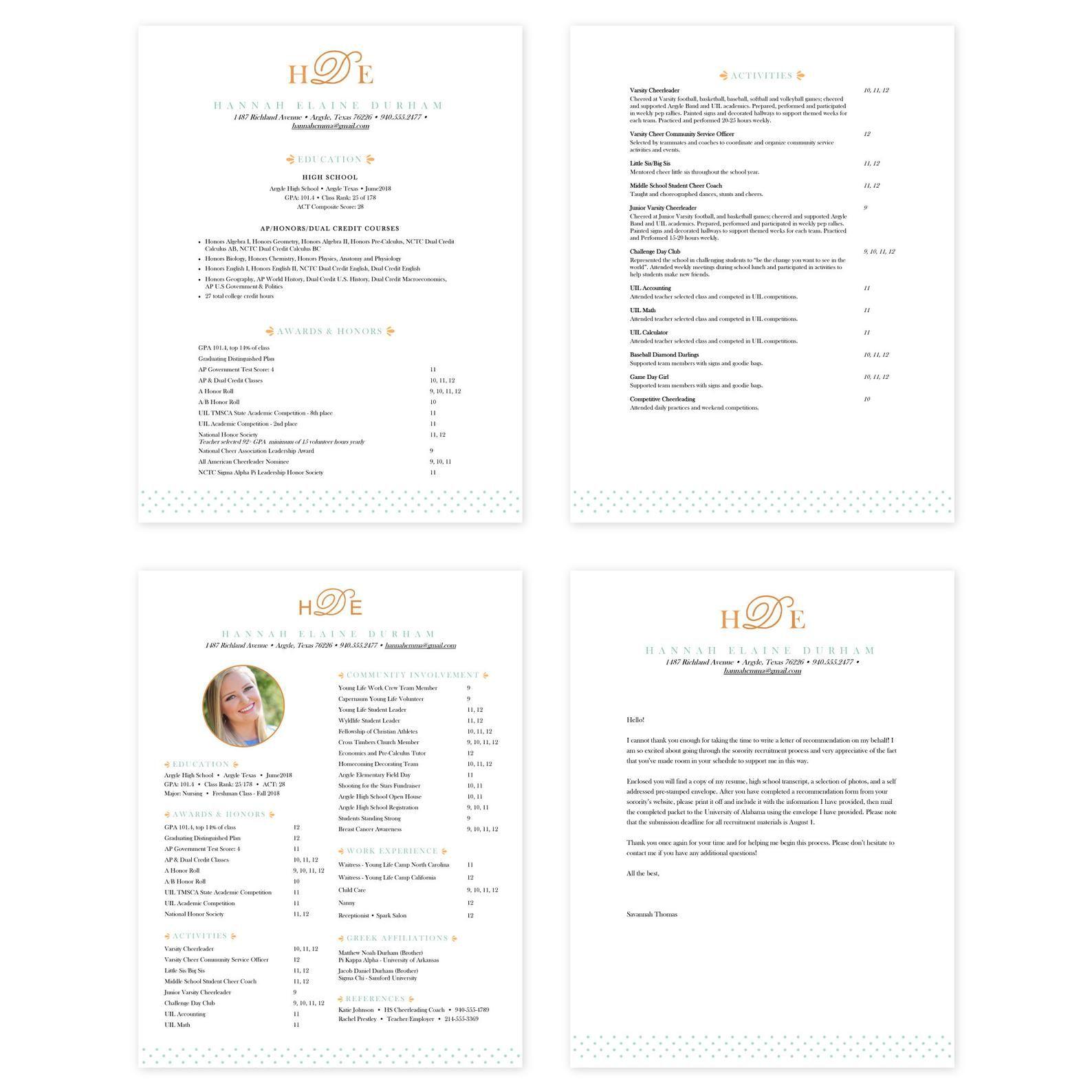 Editable Microsoft Word Sorority Resume Template Cover Letter Template Sweet Monogram In 2020 Sorority Resume Sorority Recommendation Letter Resume Template