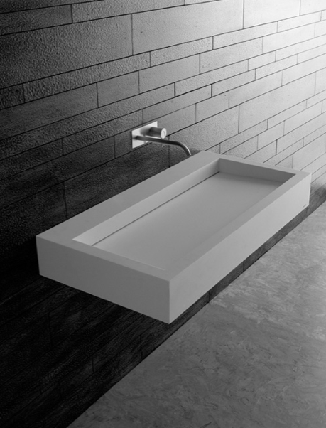 Slot Sink In Corian Wall Mounted With Incorporated Siphon
