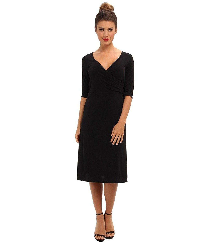 Women S Tea Length 3 4 Sleeve Wrap Dress Black Cu11knisipf Black Wrap Dress Womens Black Dress Women Clothes Sale [ 1500 x 1286 Pixel ]