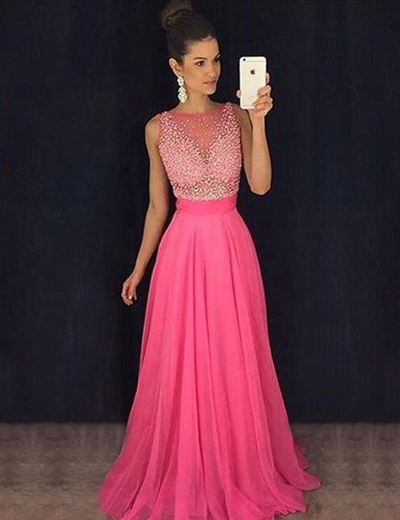 Chic Bateau Sleeveless Long Rose Pink Prom Dress With Beading Illusion Back Prom Dresses For Teens Best Prom Dresses Prom Dresses Sleeveless [ 1040 x 800 Pixel ]