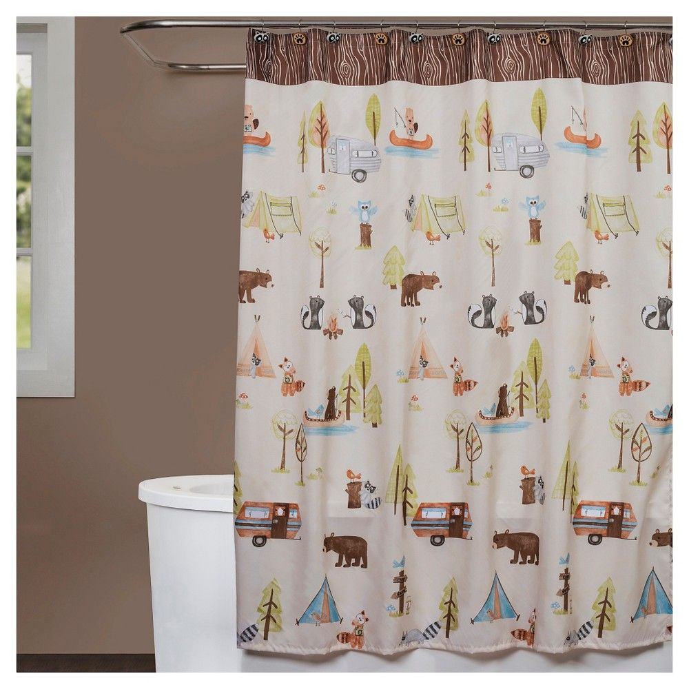Camping Critters Fabric Shower Curtain Fabric Shower Curtains Shower Curtains Walmart Saturday Knight