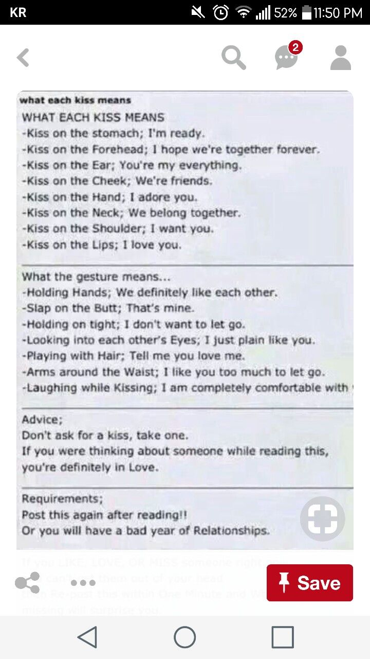 what each kiss and gesture means